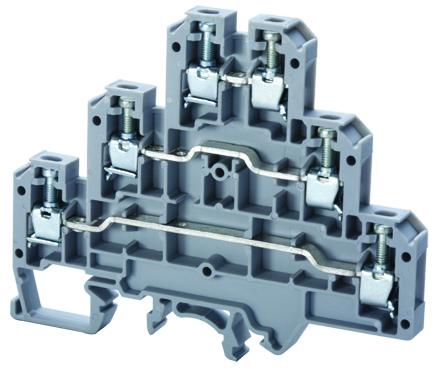 ALTECH CTL2.5U Triple Lvl Feed Thru Block,, 6mm,25A,300V, 22-12AWG (50)